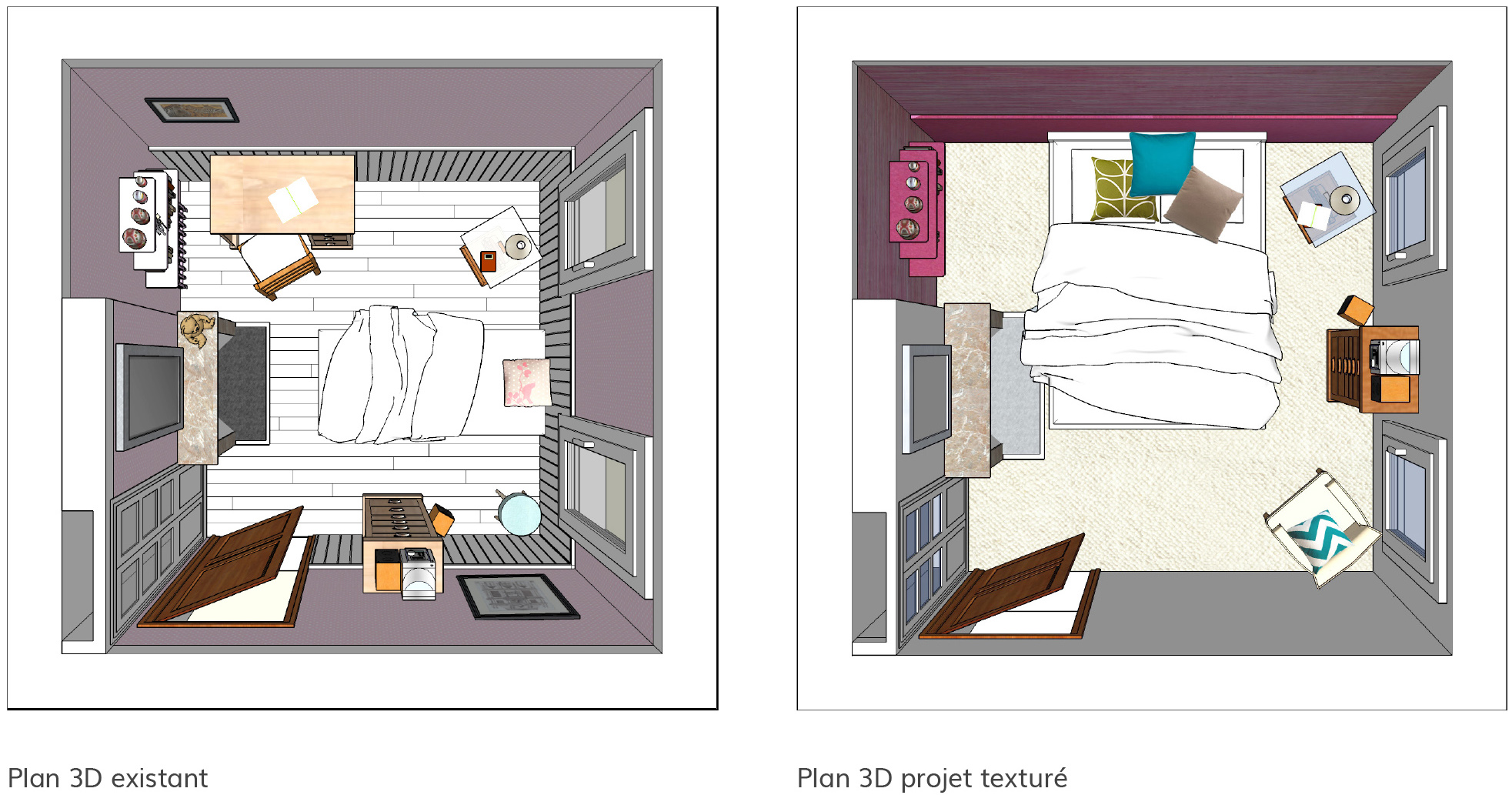 Atelier sinople plan 3d existant plan 3d projet architecte d int rieur alpes de haute for Plan amenagement interieur
